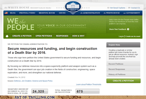 star wars Death Star petitions white house petitions - 6837288960