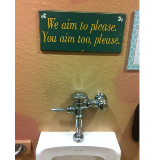 sign urinal aim advice wordplay