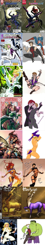 gender swap marvel Awkward comics Fan Art hawkeye poses avengers - 6837312000