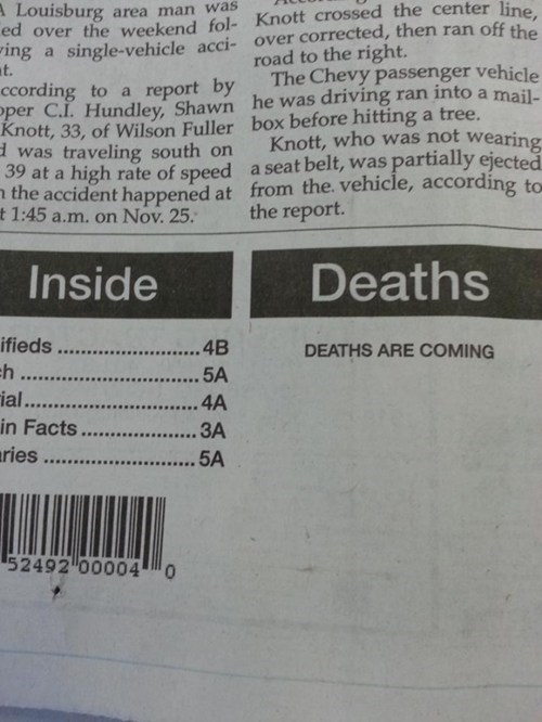 Death creepy morbid newspaper