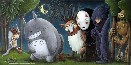 no face howl studio ghiblie deer god miyazaki totoro howls-moving-castle princess mononoke spirited away - 6837467904
