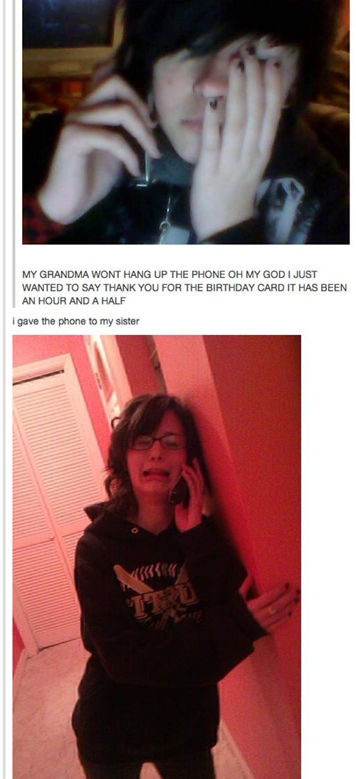 grandma,on the phone,hang up,let me go