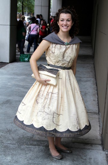 fashion Lord of the Rings map style middle earth dress - 6837522688
