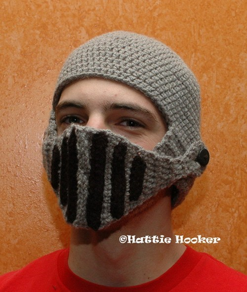helmet handmade knit knight hat