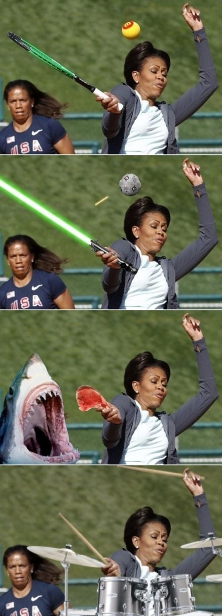 lightsaber First Lady photoshop tennis drums shark attack - 6837694208