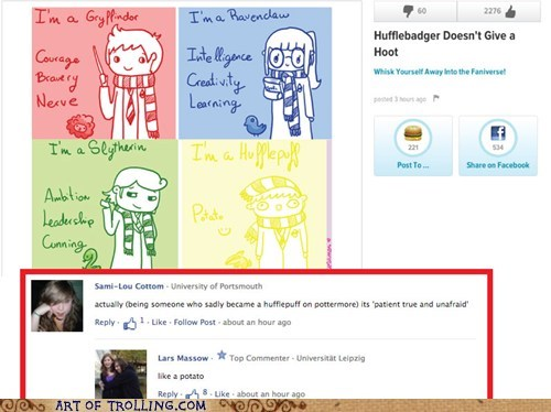 Harry Potter hufflepuff potato facebook - 6838138112