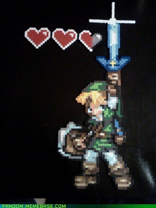 link,legend of zelda,perler beads,video games