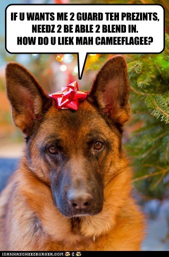 dogs,presents,german shepherd,bow,christmas tree,gaurd dog,holidays,ribbon