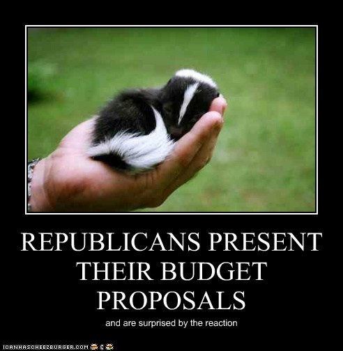 REPUBLICANS PRESENT THEIR BUDGET PROPOSALS and are surprised by the reaction