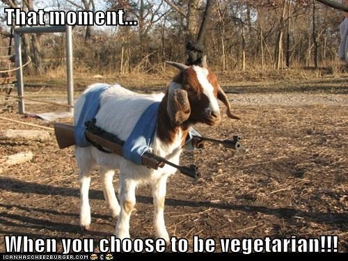 guns,goat,that moment,threatening,choose,vegetarian