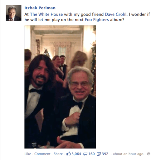 Dave Grohl,itzhak perlman,facebook,foo fighters,Music FAILS,g rated