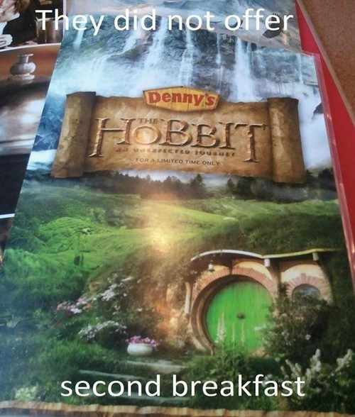 elevenses Lord of the Rings dennys elevensys second breakfast The Hobbit pippin - 6841801984