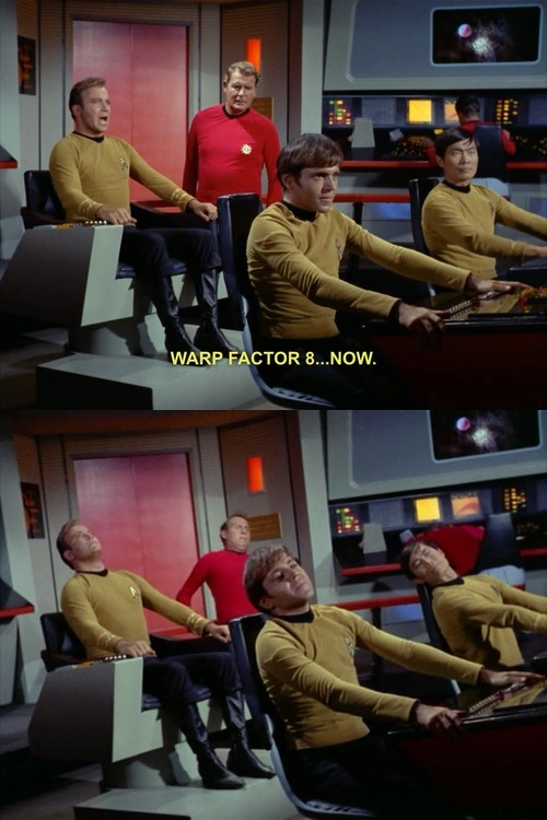 Captain Kirk,chekov,relaxing,leaning,warp,fast,Star Trek,William Shatner,sulu,george takei,walter koenig