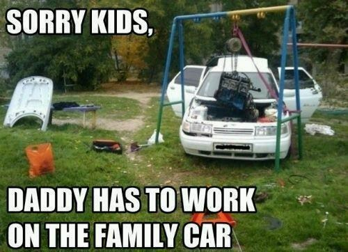 swingset,family car,engine repair,lawn darts