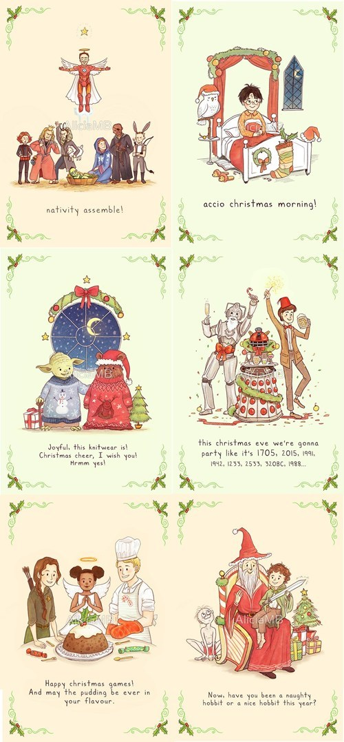 christmas Harry Potter star wars Lord of the Rings for sale holiday hunger games cards doctor who avengers - 6842542080
