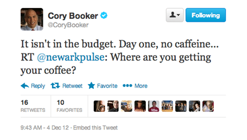 twitter,mayor,cory booker