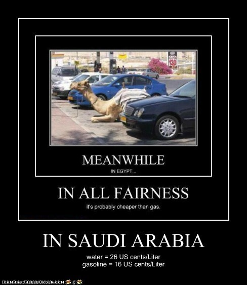 IN SAUDI ARABIA water = 26 US cents/Liter gasoline = 16 US cents/Liter