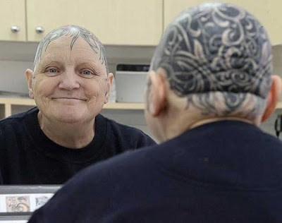 head tattoo,grandma