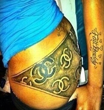 butt tattoos,underwear,chanel,Ugliest Tattoos