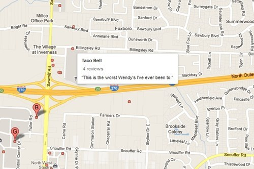 google maps taco bell McDonald's wendys yelp - 6843484672