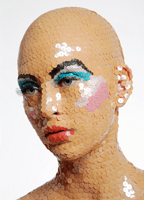fashion bald creepy Sequins mask style if style could kill - 6843546368