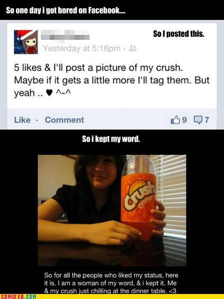 trolling orange soda likes facebook crush