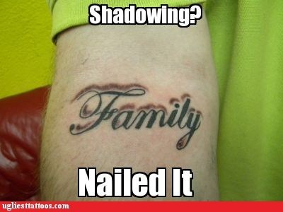 arm tattoos,shadows,family