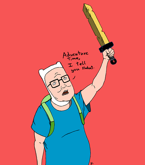 crossover,Fan Art,King of the hill,cartoons,adventure time