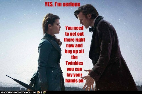 clara oswald,the doctor,jenna-louise coleman,Matt Smith,twinkies,doctor who,future,serious,get out