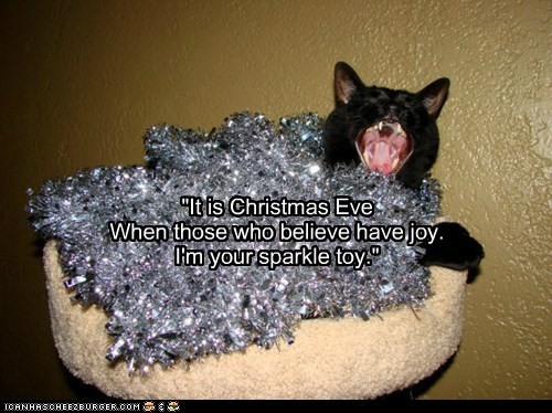 "Tinsel Haiku ""It is Christmas Eve When those who believe have joy. I'm your sparkle toy."""