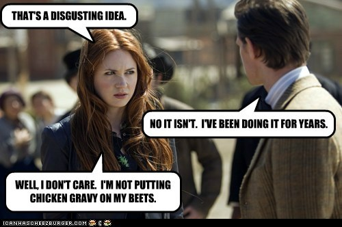 karen gillan,gravy,the doctor,beets,Matt Smith,doctor who,disgusting,amy pond
