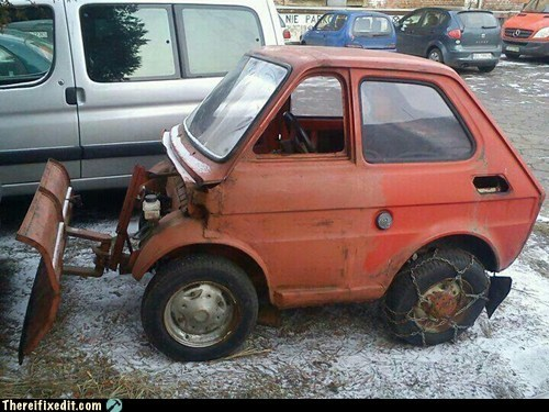 tiny car,small car,snow plow,g rated,there I fixed it