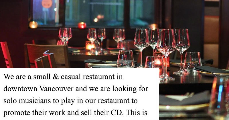 craigslist job restaurant choosy beggar ridiculous cheap musicians - 6846725