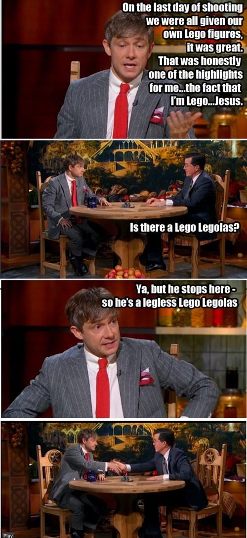 legolas,stephen colbert,Martin Freeman,lego,Bilbo Baggins,handshake,puns,The Hobbit
