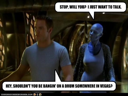 ben browder vegas Virginia Hey John Crichton farscape zotoh zhaan angry Blue Man Group - 6847003648