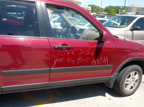 keyed car,mom
