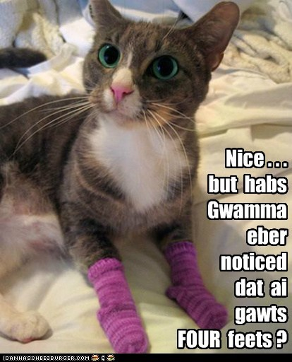 Nice . . . but habs Gwamma eber noticed dat ai gawts FOUR feets ?
