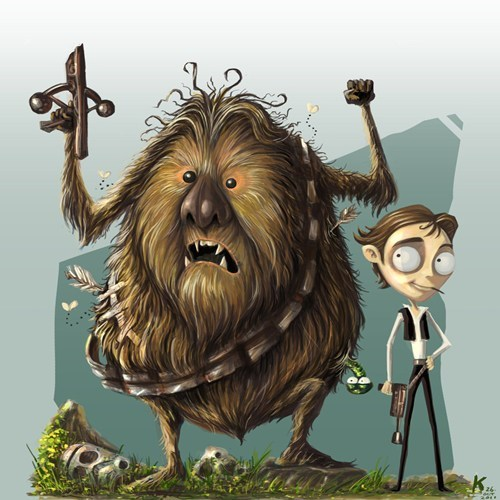 star wars,chewbacca,Fan Art,tim burton,Han Solo