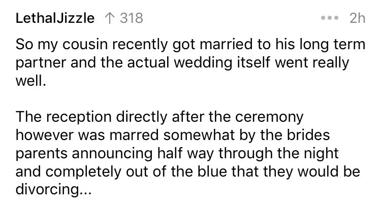 Wedding catastrophe stories from AskReddit.