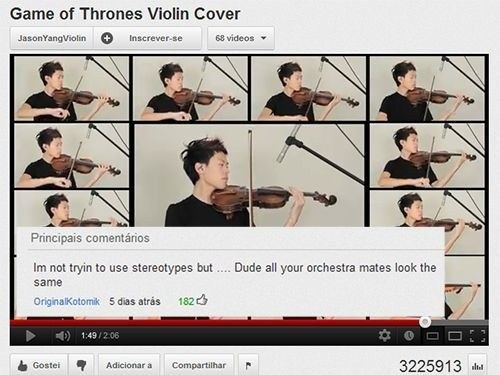 youtube comments violin stereotypes asians
