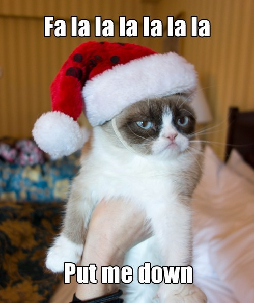 fa la la la la christmas singing captions grumpy Christmas Carols Grumpy Cat tard Cats