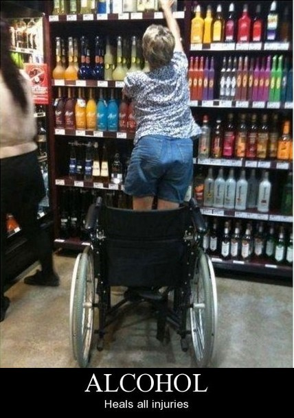 alcohol,miracle,wheelchair,heals all injuries