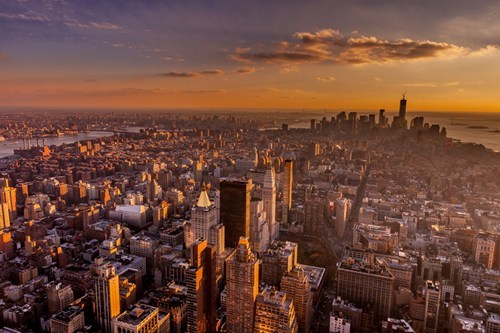 manhattan cityscape sunrise new york - 6848278016