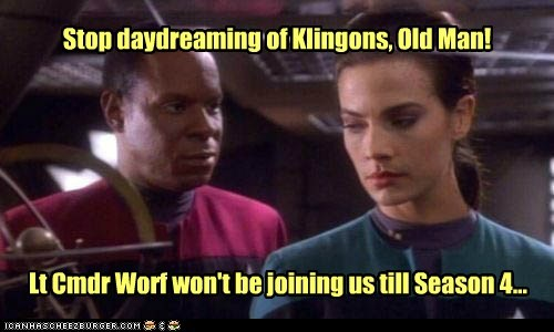 captain sisko daydreaming not yet avery brooks Star Trek Deep Space Nine klingon terry-farrell-Worf jadzia dax - 6848406784