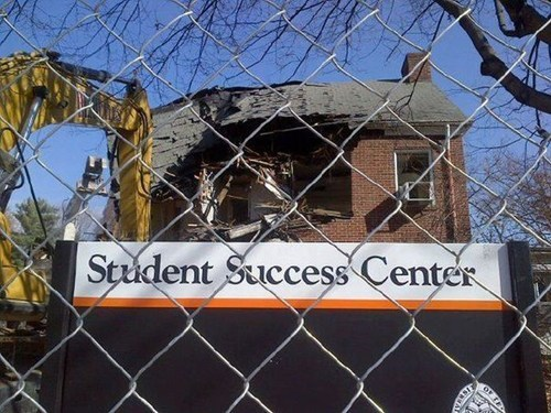 sign,school,success,irony,demolition