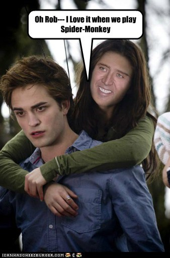 kristen stewart,freaked out,robert pattinson,nicolas cage,twilight,spider monkey