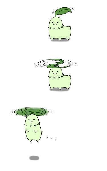 Chikorita cute flying