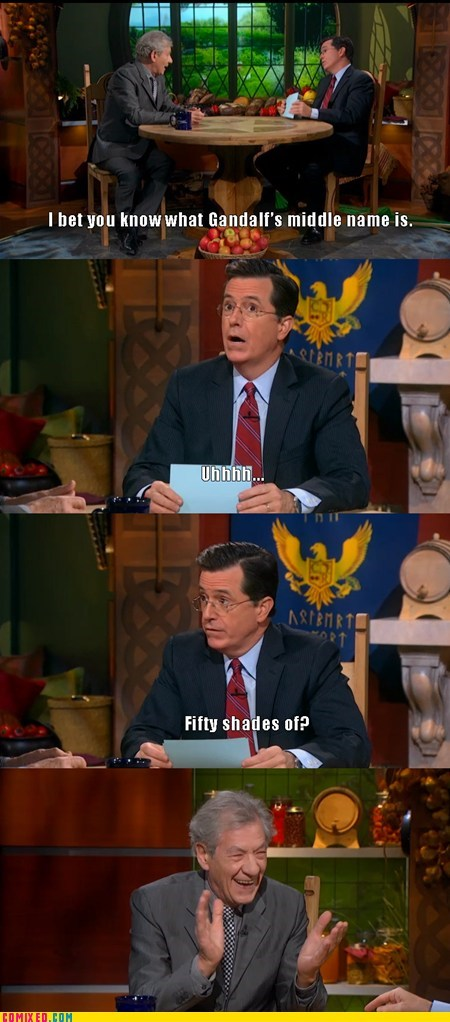 stephen colbert,Movie,ian mckellen,gandalf,The Hobbit,TV,book,fifty shades of gray,interview
