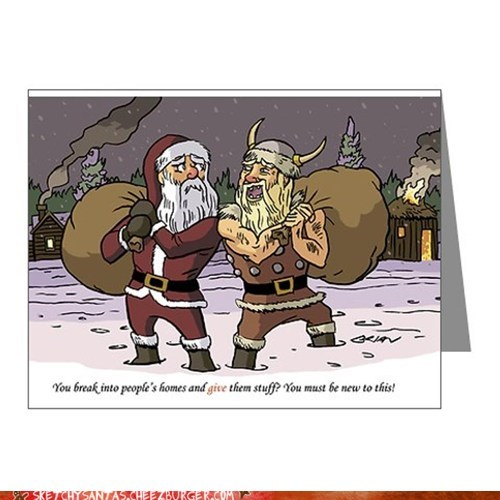 christmas,comic,santa,viking,funny,holidays