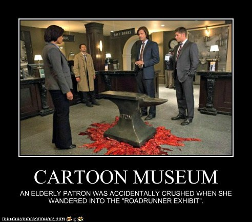jensen ackles anvil crushed accident dean winchester misha collins sam winchester Jared Padalecki cartoons castiel museum - 6850201344